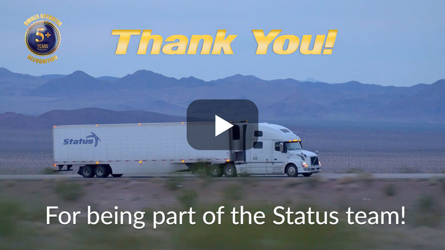Status Transportation Owner Operator 5 Year Service Recognition